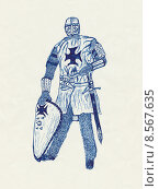 Купить «Рыцарь, рисунок шариковой ручкой», иллюстрация № 8567635 (c) Веснинов Янис / Фотобанк Лори