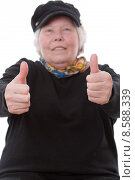 Купить «woman success thumb grandmother thumbs», фото № 8588339, снято 20 сентября 2019 г. (c) PantherMedia / Фотобанк Лори