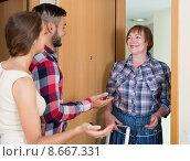 Купить «couple came to visit mother at the parental home», фото № 8667331, снято 17 июля 2018 г. (c) Яков Филимонов / Фотобанк Лори