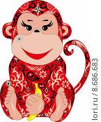 Красная обезьянка. Стоковая иллюстрация, иллюстратор Буркина Светлана / Фотобанк Лори