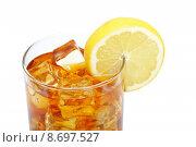 Купить «Glass of ice tea with lemon», фото № 8697527, снято 18 июня 2018 г. (c) PantherMedia / Фотобанк Лори