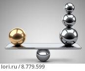 Купить «Баланс между большими золотыми и стальными сферами. 3d иллюстрация на сером фоне.», иллюстрация № 8779599 (c) Маринченко Александр / Фотобанк Лори