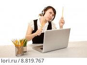 Купить «Pretty female office worker with laptop computer», фото № 8819767, снято 21 июля 2019 г. (c) PantherMedia / Фотобанк Лори