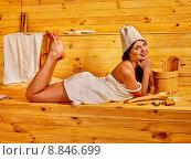 Купить «Girl in sauna.», фото № 8846699, снято 22 августа 2012 г. (c) Gennadiy Poznyakov / Фотобанк Лори