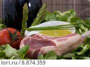 Купить «Rack of lamb and ingredients», фото № 8874359, снято 24 июня 2019 г. (c) PantherMedia / Фотобанк Лори