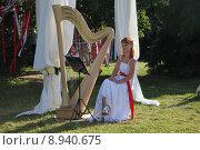 Купить «Девушка с арфой в романтичном летнем парке», фото № 8940675, снято 4 июля 2015 г. (c) Татьяна Белова / Фотобанк Лори