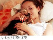 Купить «Девочка с собакой», фото № 8954279, снято 10 июля 2008 г. (c) Морозова Татьяна / Фотобанк Лори