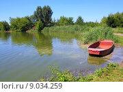 Купить «fishpond with red boat», фото № 9034259, снято 20 апреля 2019 г. (c) PantherMedia / Фотобанк Лори
