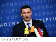 Купить «Berlin, Germany, Vitali Klitschko, UDAR, Mayor of Kiev», фото № 9071599, снято 12 сентября 2014 г. (c) Caro Photoagency / Фотобанк Лори