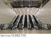 Купить «Escalators in Underground Tunnels», фото № 9093715, снято 23 марта 2019 г. (c) PantherMedia / Фотобанк Лори
