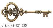 Купить «Старый фигурный ключ изолированно на белом фоне», фото № 9121355, снято 8 июня 2015 г. (c) Насыров Руслан / Фотобанк Лори