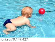 Купить «young summer child pool toddler», фото № 9147427, снято 22 августа 2019 г. (c) PantherMedia / Фотобанк Лори