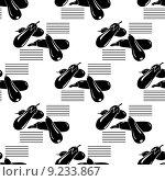 Черно-белый бесшовный фон с баклажанами. Стоковая иллюстрация, иллюстратор Liliya Mekhonoshina / Фотобанк Лори
