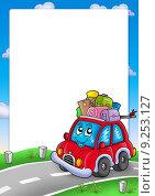 Frame with cute car and baggage. Стоковая иллюстрация, иллюстратор Klara Viskova / PantherMedia / Фотобанк Лори