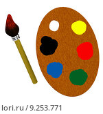 Купить «3d wooden palette with brush», фото № 9253771, снято 18 февраля 2020 г. (c) PantherMedia / Фотобанк Лори