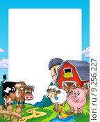 Frame with barn and farm animals. Стоковая иллюстрация, иллюстратор Klara Viskova / PantherMedia / Фотобанк Лори