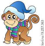 Купить «Cute monkey in winter clothes», иллюстрация № 9257363 (c) PantherMedia / Фотобанк Лори