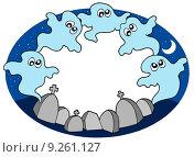 Round frame with ghosts. Стоковая иллюстрация, иллюстратор Klara Viskova / PantherMedia / Фотобанк Лори