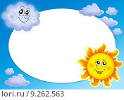 Купить «Round frame with Sun and cloud», иллюстрация № 9262563 (c) PantherMedia / Фотобанк Лори