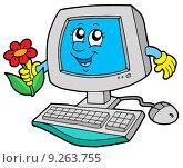 Купить «Cute computer with flower», иллюстрация № 9263755 (c) PantherMedia / Фотобанк Лори