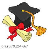 Купить «Graduation hat and scroll», иллюстрация № 9264667 (c) PantherMedia / Фотобанк Лори