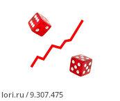 Купить «A percentage symbol replicated with die and a line graph», фото № 9307475, снято 14 июля 2020 г. (c) PantherMedia / Фотобанк Лори