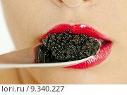 Купить «detail of woman with black caviar», фото № 9340227, снято 26 марта 2019 г. (c) PantherMedia / Фотобанк Лори