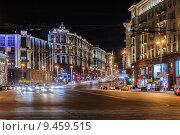Купить «Тверская улица ночью», эксклюзивное фото № 9459515, снято 12 августа 2015 г. (c) Алёшина Оксана / Фотобанк Лори