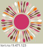 Купить «Colorful cutlery restaurant mandala», иллюстрация № 9471123 (c) PantherMedia / Фотобанк Лори