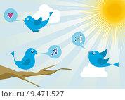 Купить «Twitter birds at social media sunrise», иллюстрация № 9471527 (c) PantherMedia / Фотобанк Лори