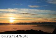 Купить «sunset alps fog nebelmeer nature», фото № 9476343, снято 17 июля 2019 г. (c) PantherMedia / Фотобанк Лори