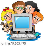 Computer with cartoon kids and dog. Стоковая иллюстрация, иллюстратор Klara Viskova / PantherMedia / Фотобанк Лори