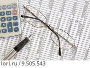 Купить «Pen and calculator on a spreadsheet», фото № 9505543, снято 20 сентября 2018 г. (c) PantherMedia / Фотобанк Лори