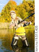 Купить «woman fishing in pond», фото № 9511435, снято 26 марта 2019 г. (c) PantherMedia / Фотобанк Лори