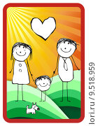 Купить «colorful happy family illustration», иллюстрация № 9518959 (c) PantherMedia / Фотобанк Лори