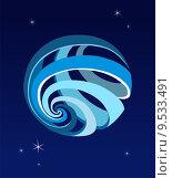 Купить «World globe icon on a starry blue sky », иллюстрация № 9533491 (c) PantherMedia / Фотобанк Лори