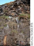 Купить «icicles hanging on a cliff face», фото № 9543915, снято 21 марта 2019 г. (c) PantherMedia / Фотобанк Лори