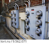 Купить «Banks of Electric and Gas Meters», фото № 9562071, снято 3 июля 2020 г. (c) PantherMedia / Фотобанк Лори