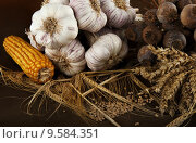 Still life made of various harvested cereals and vegetables. Стоковое фото, фотограф Filip Fuxa / PantherMedia / Фотобанк Лори