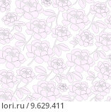 Стилизованный фон с розами. Стоковая иллюстрация, иллюстратор Мярц Алиса / Фотобанк Лори