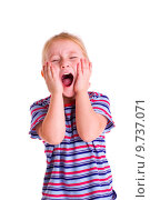 Купить «little blonde girl screaming», фото № 9737071, снято 28 мая 2018 г. (c) PantherMedia / Фотобанк Лори