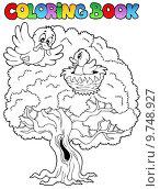 Купить «Coloring book big tree with birds», иллюстрация № 9748927 (c) PantherMedia / Фотобанк Лори