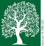 Купить «White tree on green background 2», иллюстрация № 9749127 (c) PantherMedia / Фотобанк Лори