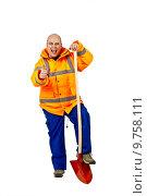 Купить «craftsman with a shovel», фото № 9758111, снято 20 июля 2019 г. (c) PantherMedia / Фотобанк Лори