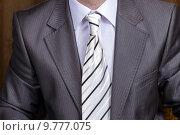 Купить «Бизнесмен, одетый в серый классический костюм, рубашку и галстук», фото № 9777075, снято 11 апреля 2015 г. (c) Евгений Ткачёв / Фотобанк Лори