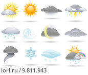 Купить «Vector weather icons collection», фото № 9811943, снято 20 января 2018 г. (c) PantherMedia / Фотобанк Лори