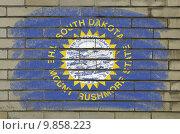 Купить «grunge flag of US state of south dakota on brick wall painted wi», иллюстрация № 9858223 (c) PantherMedia / Фотобанк Лори