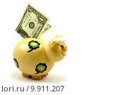 Купить «piggy bank with one dollar», фото № 9911207, снято 28 января 2020 г. (c) PantherMedia / Фотобанк Лори