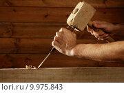 Купить «gouge wood chisel carpenter tool hammer hand», фото № 9975843, снято 23 мая 2018 г. (c) PantherMedia / Фотобанк Лори