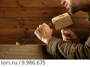 Купить «gouge wood chisel carpenter tool hammer hand», фото № 9986675, снято 23 мая 2018 г. (c) PantherMedia / Фотобанк Лори